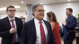 US Senator Al Franken, Democrat of Minnesota, walks to a vote at the US Capitol in Washington, DC, June 14, 2017. Several people including a top Republican congressman were wounded in a Washington suburb early Wednesday morning when a gunman opened fire as they practiced for an annual baseball game between lawmakers. / AFP PHOTO / SAUL LOEB (Photo credit should read SAUL LOEB/AFP/Getty Images)